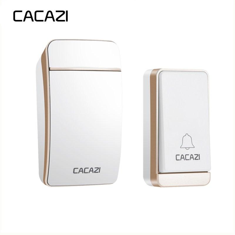 CACAZI Sans Fil Sonnette Étanche Sans Pile US, UK, EU Plug 200 M À Distance Auto-Alimenté Maison porte sonnette 38 carillons