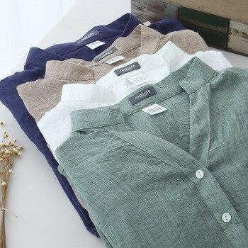 Blouses  Casual Shirt Women Cotton Linen Blouse Women Autumn Blouse Sun Protection Clothing Loose Cotton Linen Shirt