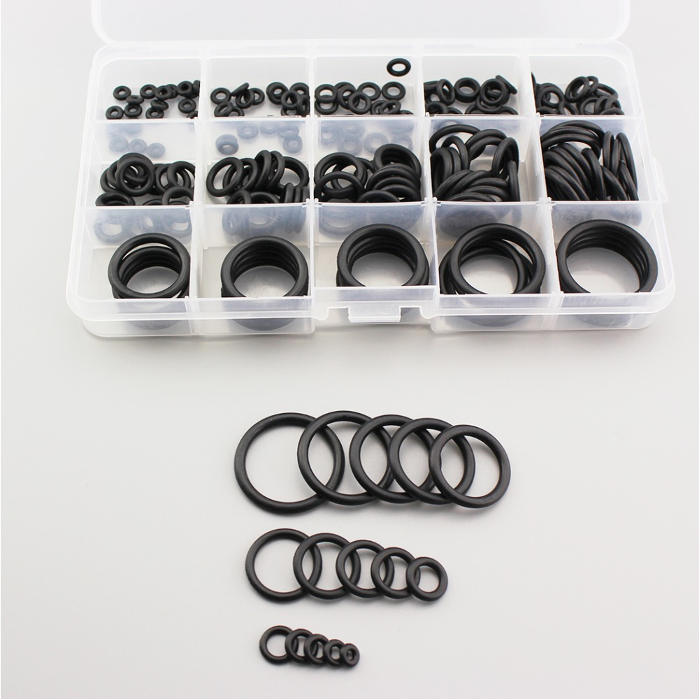 PCP Paintball NBR Rubber O-rings Durable Black Air Sealing O-rings Socket Gasket Replacements 15 Sizes Quick Coupling 200pcs/box
