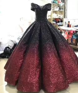 Image 4 - Glitter Mix Sequined Ball Gown Evening Dress Dubai Arab Off Shoulder Evening Gowns Robe De Soiree