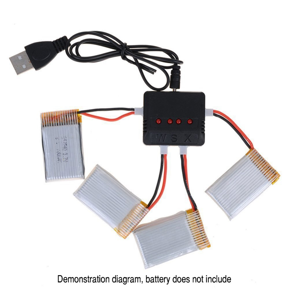 RC Battery Charger USB 4 In 1 for 3.7V (1S) Lithium Ion Battery Quadcopter Drone Syma X5c X1 Hubsan H107D H107 X4 UDI DFD Wltoys