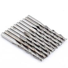 10 шт. две флейты карбида Концевая фреза диаметром 3,175 мм твердая спираль по дереву ЧПУ фрезы для фрезы