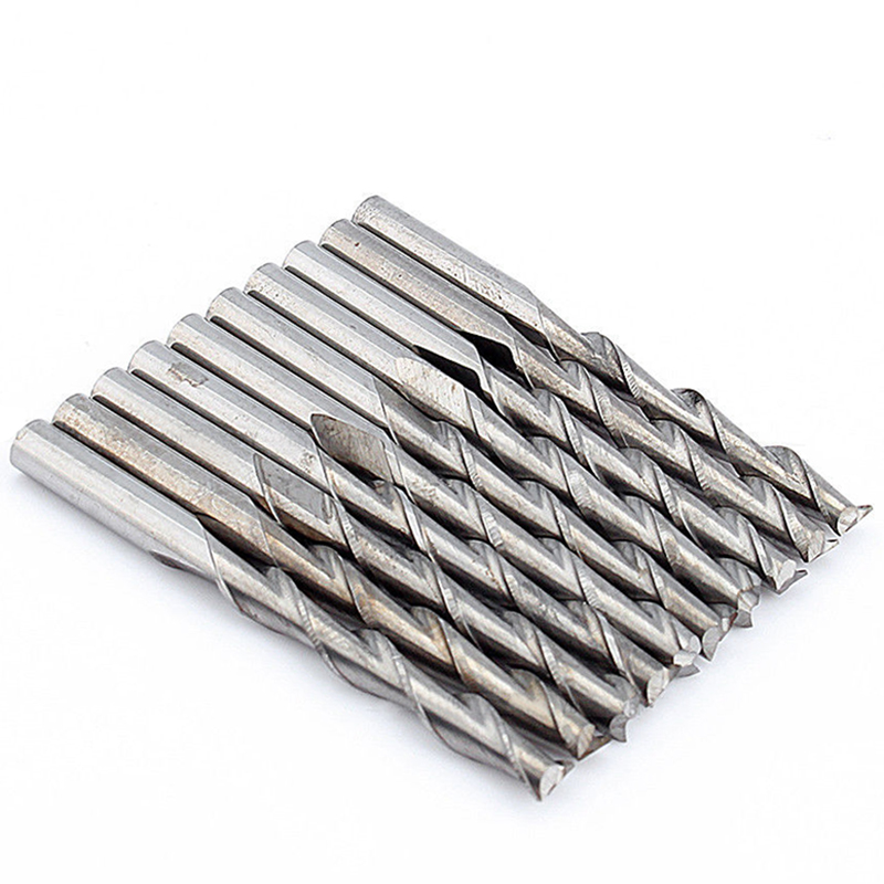 10pcs Two Flute Carbide End Mill Dia 3.175mm Solid Spiral Woodwork CNC Router Bits For Milling Cutter 5pcs high quality cnc bits single flute spiral router carbide end mill cutter tools 6x 28mm ovl 60mm free shipping