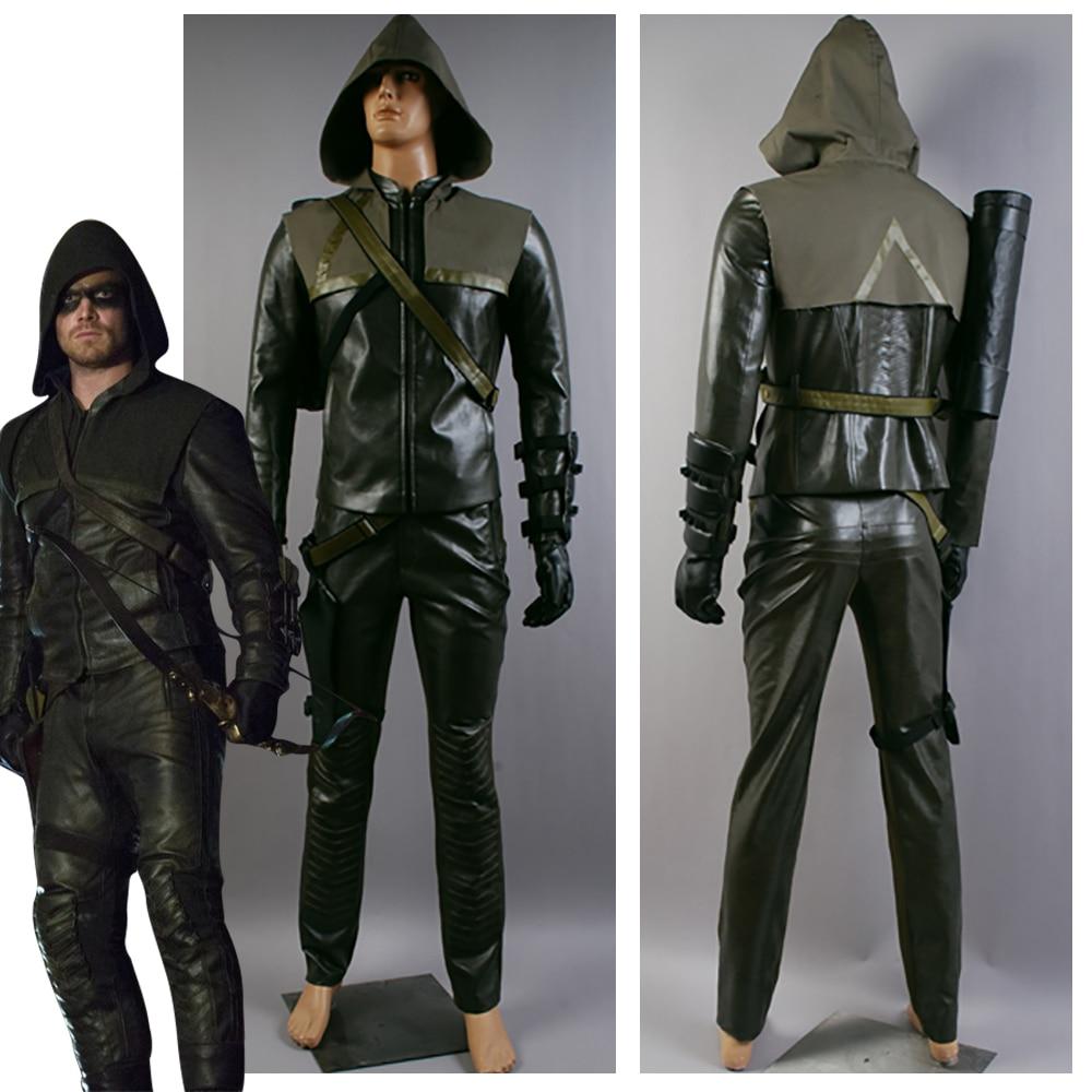 The Arrow Oliver Queen Arrow Costume Green Arrow Cosplay Costume For Adult Men Halloween Carnival Costumes