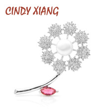 CINDY XIANG Zircon Flower Brooches for Women Elegant CZ Crystal Brooch Pin Fashion Jewelry Wedding Corsage High Quality New cindy xiang purple color crystal flower large brooches for women autumn coat brooch pin elegant beautiful fashion jewelry new