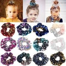 12 renk Sparkly Sequins Mermaid Elastik Saç Bantları Toka Saç Bağları Halatlar Scrunchie Kadınlar veya Kızlar için saç aksesuarları