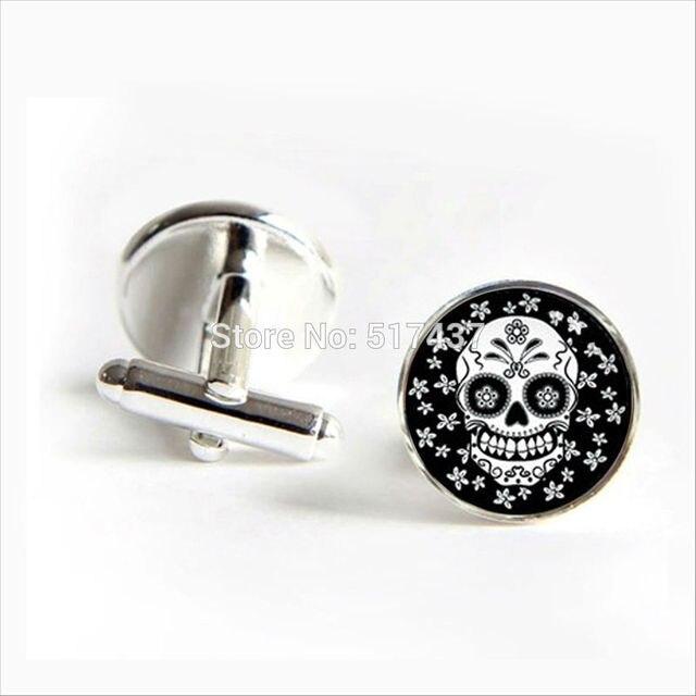 Black and White Round Sugar Skull Cufflinks