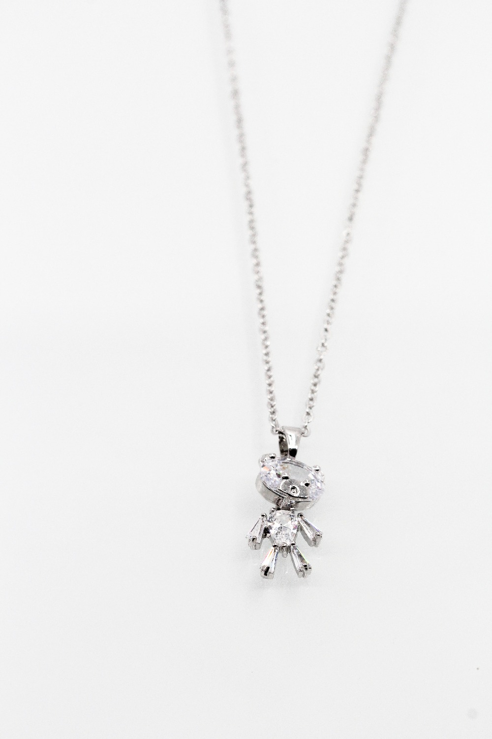 Delicate beautiful Crystal bear Pendant silver color