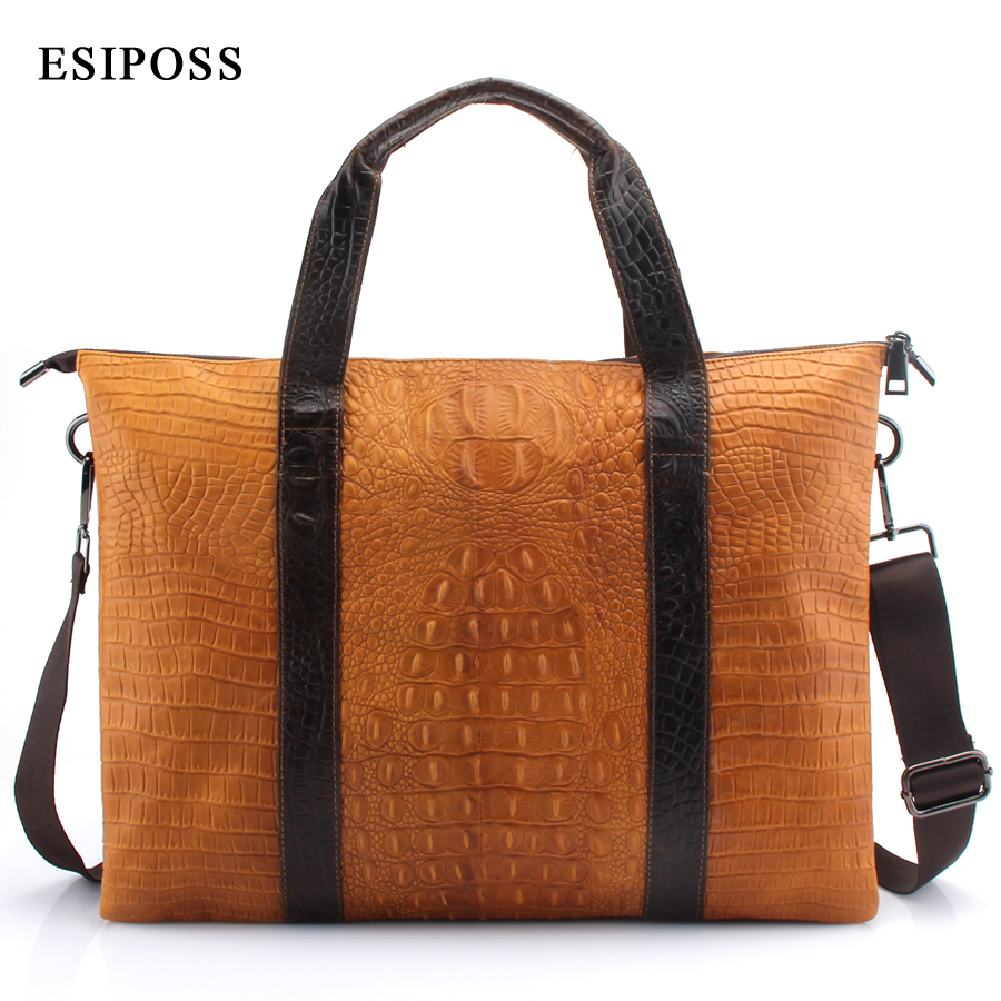 ESIPOSS Genuine Leather Men Handbag Men Briefcases Luxry Leather Business Computer Laptop Bags Crossbody Bag Mens Messenger Bag contact s genuine leather men bag men briefcases male shoulder business computer laptop bags crossbody bags mens messenger bag