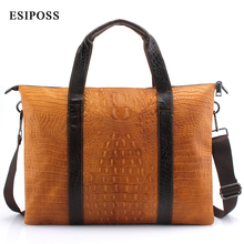 ESIPOSS Genuine Leather Men Handbag Men Briefcases Luxry Leather Business Computer Laptop Bags Crossbody Bag Mens Messenger Bag