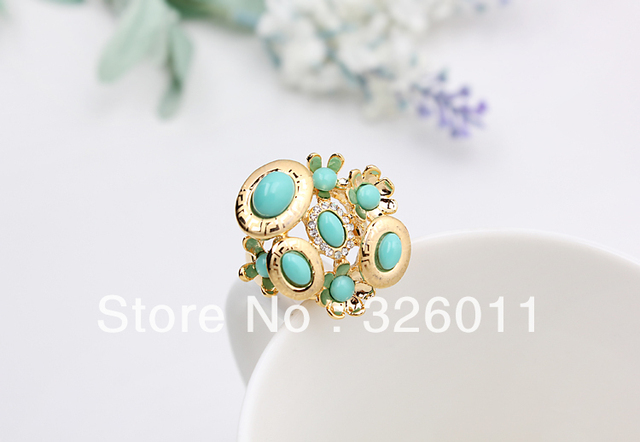 Free Shipping Hot Selling High Quality New style Engagement ring Synthetic Diamond Alloy Ring Gold Plating Classical  Blue beads