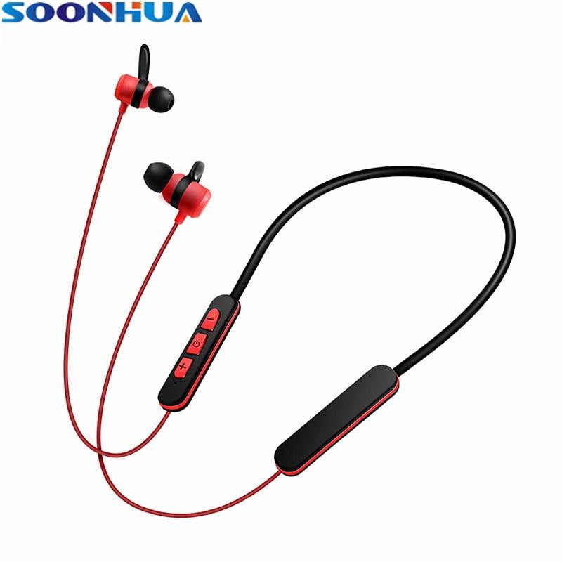SOONHUA Wireless Magnetic Neck Hook Earphones Bluetooth 4.2 Ergonomic Super Stereo Sport Headphone for Samsung iPhone Xiaomi