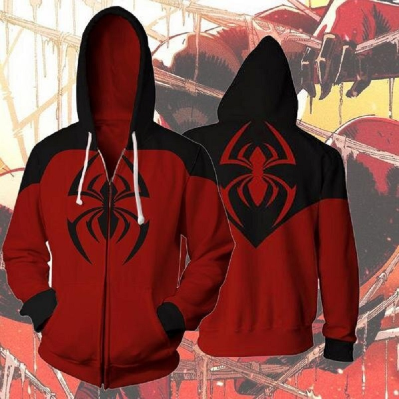 BIANYIFANG 2018 Men and Women Hooded Spiderman the Amazing SpiderMan 3D Printed Hoodies Zipper Tracksuit Hoody Hip Hop Tops