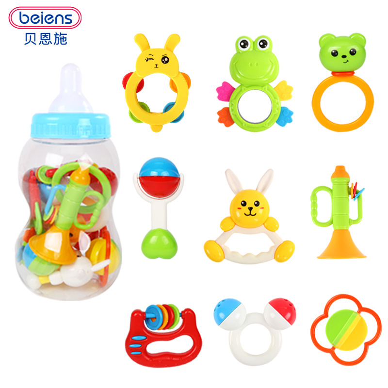 Beiens Brand Toys 8pcs Lovely Plastic Newborn Baby Toys Hand Shake Bell Ring Rattles Toys Baby Educational Toys baby rattles toys 8pcs teether music hand shake bed bell newborns plastic animal rattles gift educational baby toys 0 12 months