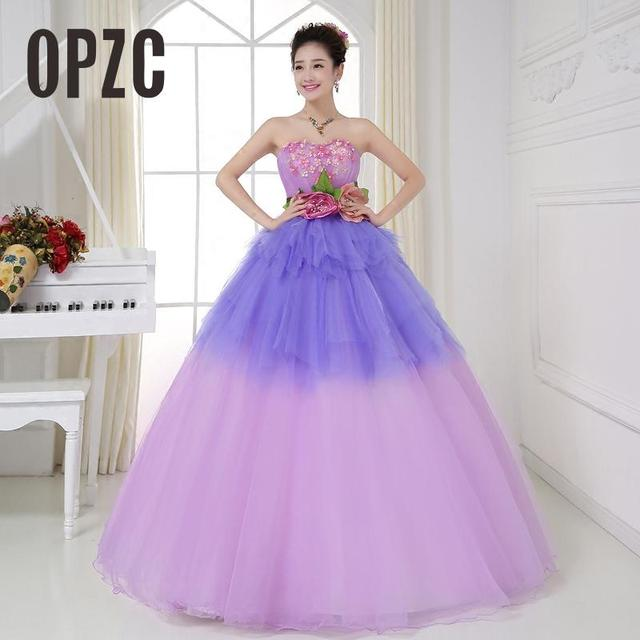 Colorful Organza Colored Paty dress 2017 Strapless New Korean Style Yellow  blue Pink Flower Princess Gowns vestido de noiva 2bee26be231d