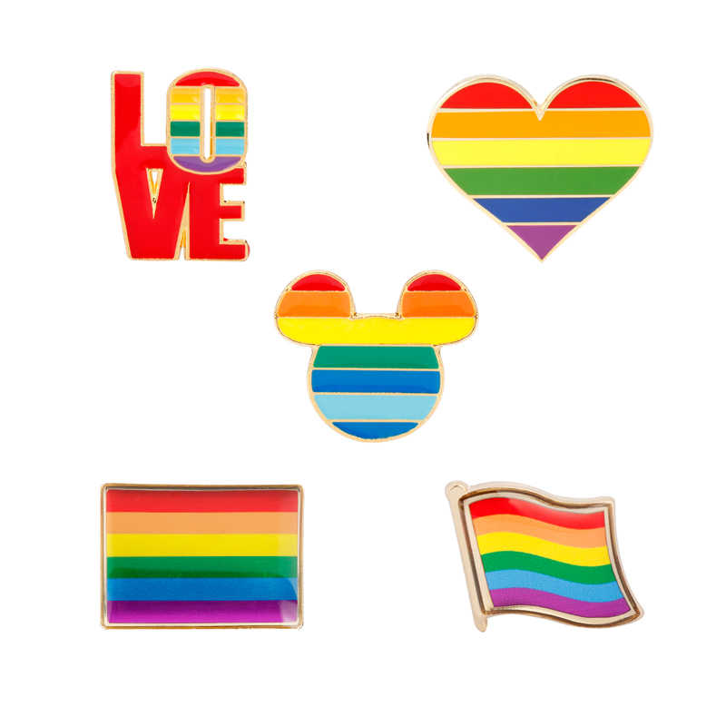 Pride Love Rainbow Heart Enamel Badge Pins Support Gay Lesbian Bisexual Transgender Flag Symbol Brooches Pin LGBT Jewelry Brooch