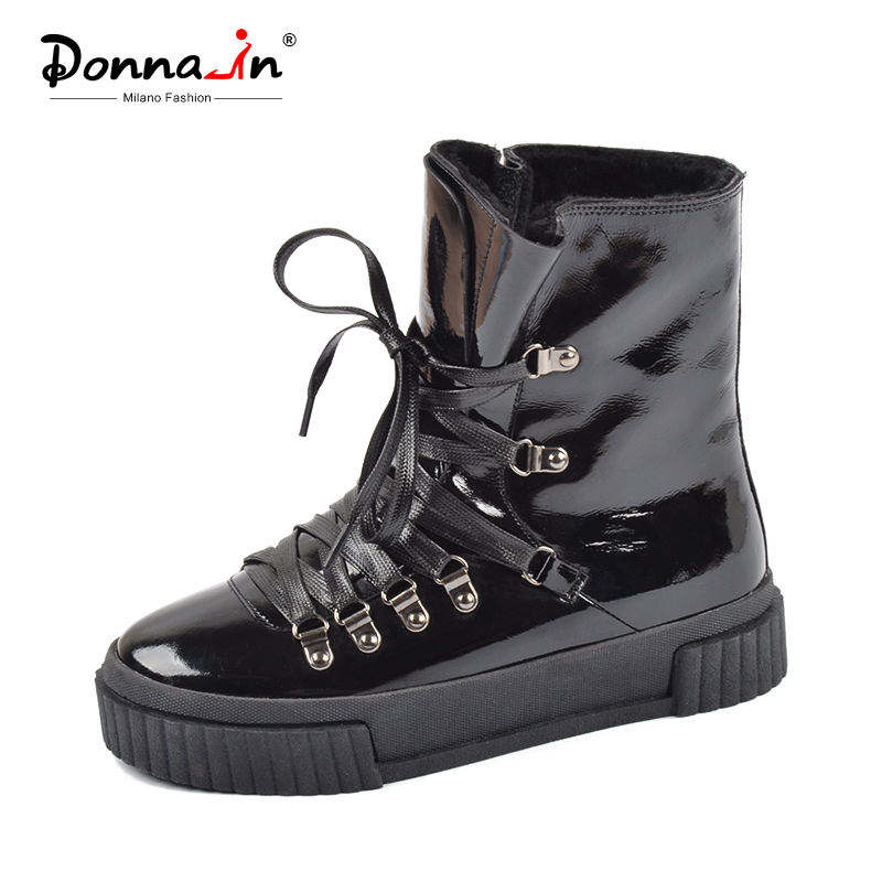 Donna-in 2018 Fashion Winter Ankle Boots Women Leather Platform High Heel Lace Up Short Pulsh Warm Female Boots Ladies Shoes high quality womens fashion high heel lace up ankle boots ladies buckle platform shoes