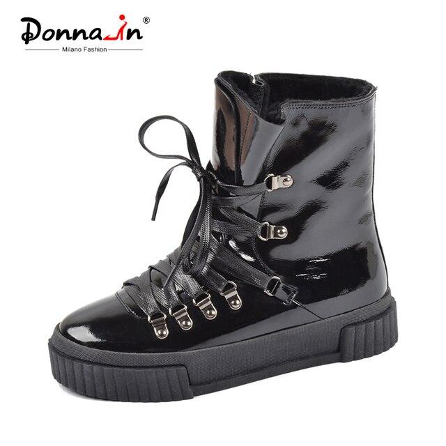 Donna-in 2019 Moda Kış yarım çizmeler Kadın Deri Platformu Yüksek Topuk Lace Up Kısa Peluş Sıcak Kadın Çizmeler Bayanlar ayakkabı