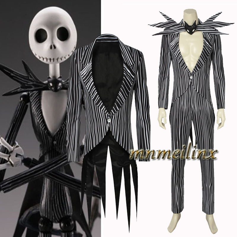 Cool The Nightmare Before Christmas Cosplay Jack Skellington Costume Black Skull Jacket Stripe Suit Halloween Outfit Custom Made