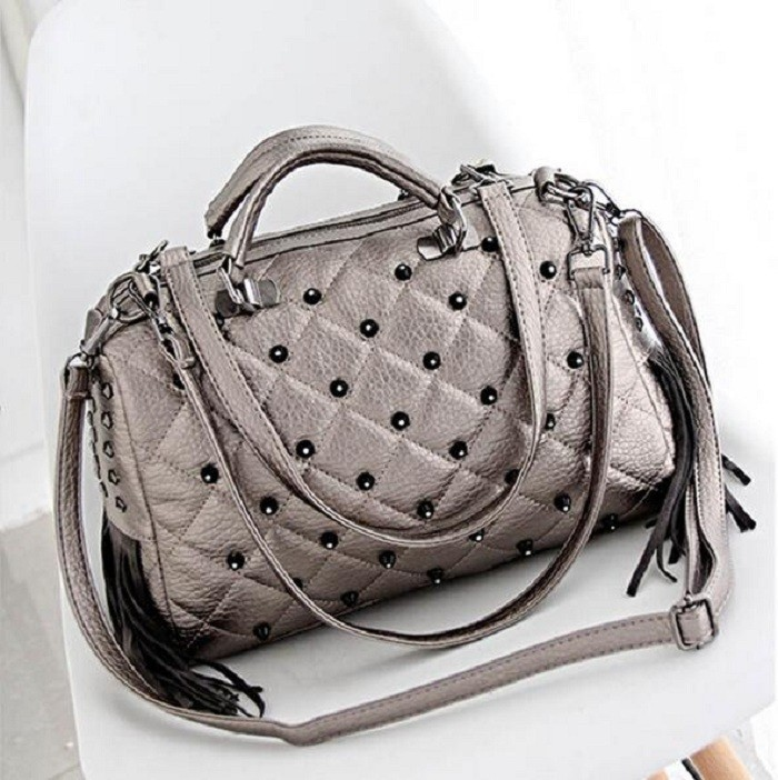 ... Studs Large Capacity Tassel Boston Bag Fringe Women Big Punk Hand Bags  Ladies Stylish Shopper Bag. size 34 13 27 cm 4759463d0ff11
