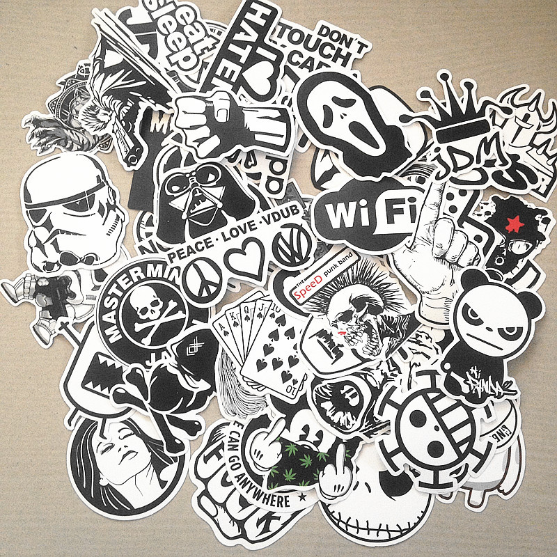 100pcs black and white mixed Sticker cartoon Stickers for laptop skateboard bicycle suitcase pvc Rock Design