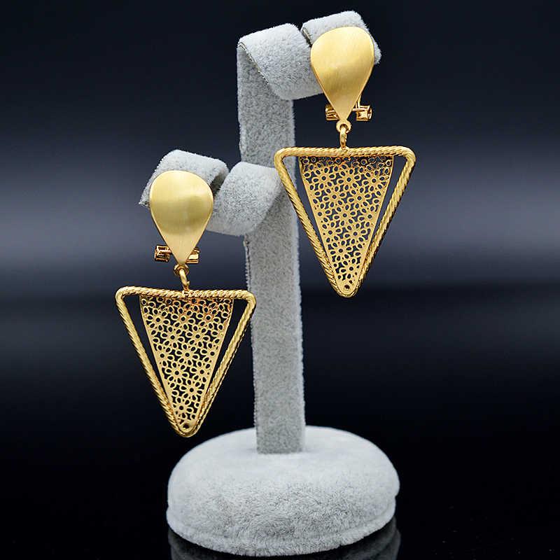 Ensoleillé bijoux à la mode Triangle bijoux ensembles pour femmes collier boucles d'oreilles pendentif bijoux ensembles pour fête mariage fiançailles bijoux