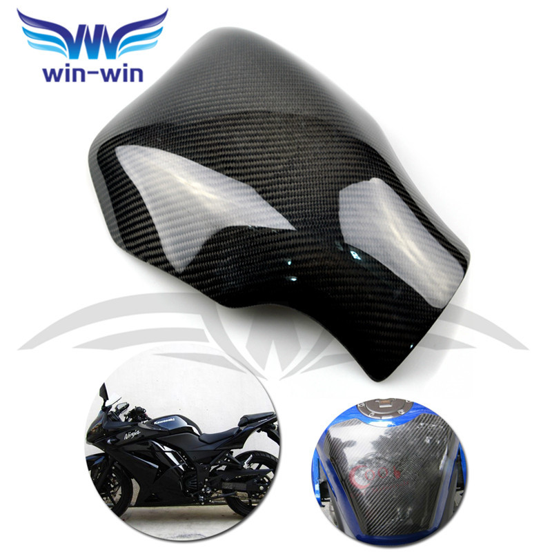 ФОТО black color motorcycle accessories caron fiber fuel gas tank protector pad shield rear carbon fiber for KAWASAKI NINJA 250 08-11