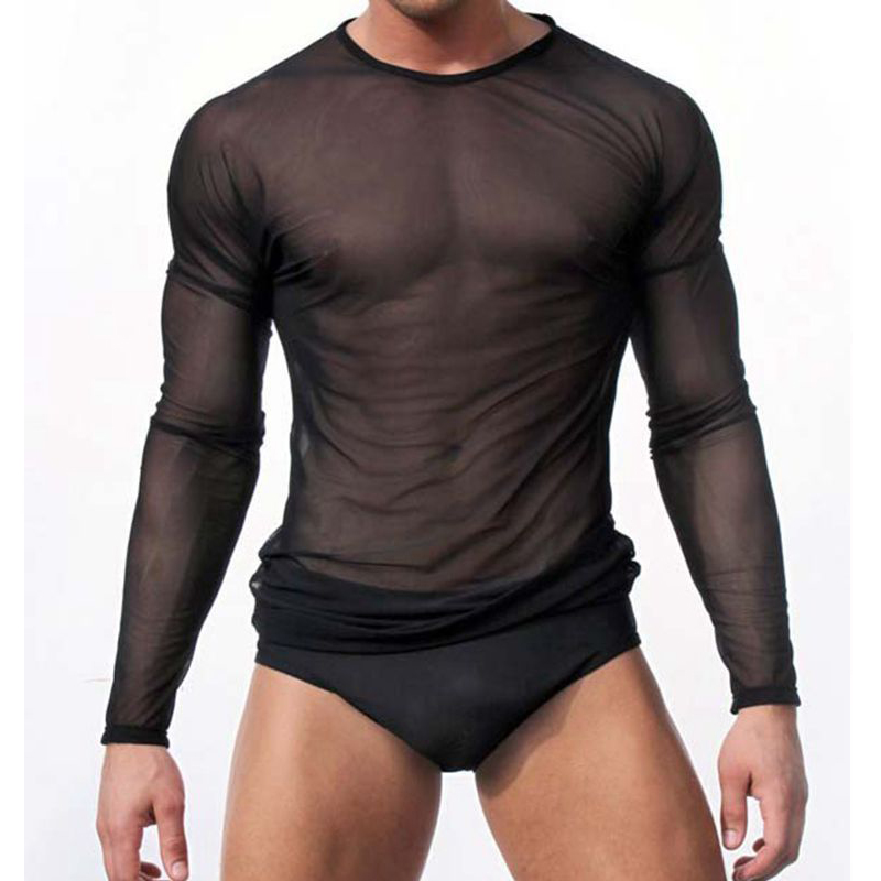 Mens Sexy Transparent T-shirt Sheer See Through Mesh Long Sleeve T shirt Tops Undershirt Fitness Tight Black/White Lounge Tees