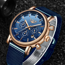 2019 LIGE Quartz Watch Men Chronograph Luminous Hands Auto Date Stainless Steel 30m Waterproof Fashion Luxury Blue Mens Watches bobo bird p09 wood and stainless steel watches luminous hands stop watch mens quartz wristwatches in wooden box dropshipping
