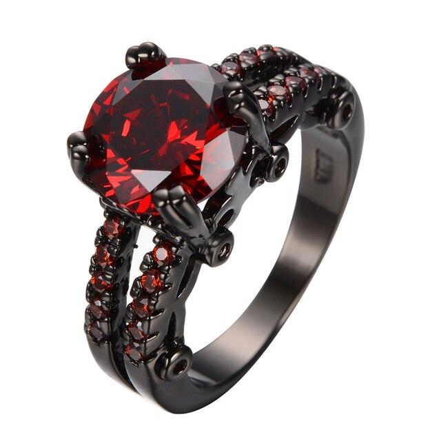 fashion shiny round cut red ring women charming red garnet wedding jewelry black gold filled promise - Garnet Wedding Rings