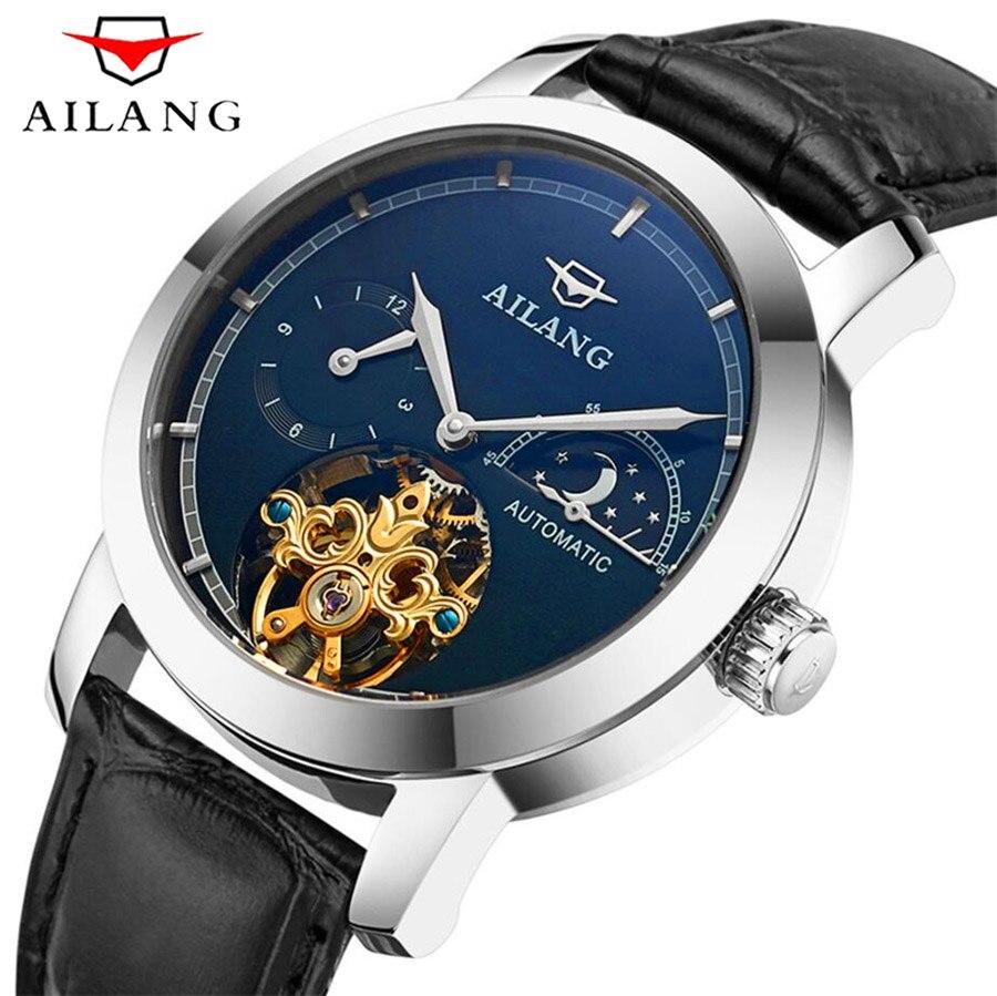 Ailang Herrenuhren Top-marke Luxus Vintage Automatische Mechanische Uhr Männer Wasserdicht 50 Mt Tourbillon Uhren Steampunk Uhr