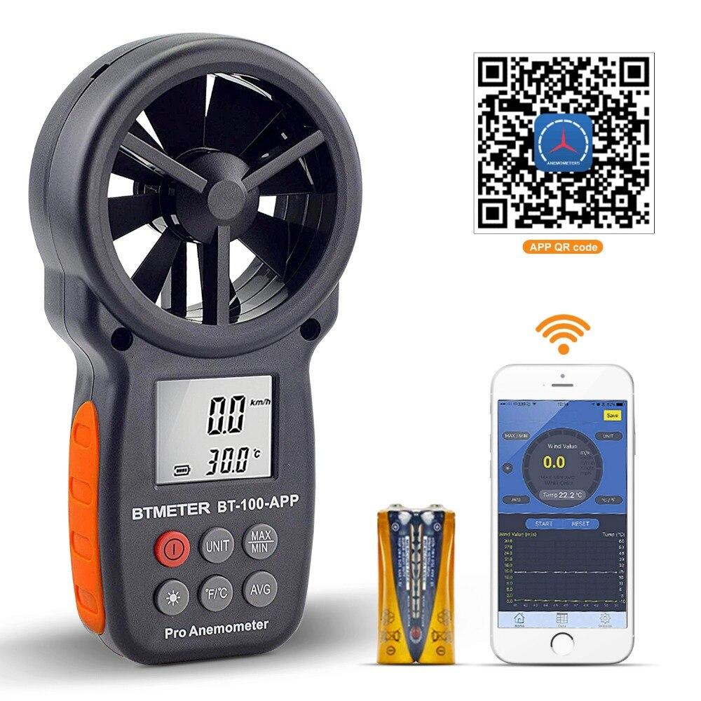 Anemómetro Digital probador con la aplicación móvil de medición de la velocidad del viento de medir la temperatura de herramientas BTMETER BT-100-APP