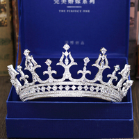 Micro Paved Cubic Zircon Tiara Luxury Zirconia Crown Wedding Hair Accessories Bride CZ Coroa Novia Bijoux Cheveux WIGO1186