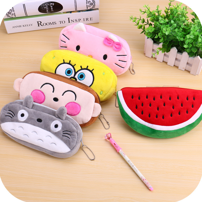 Kawaii Cartoon Animal Large Capacity Plush Pencil Case Cosmetic font b Bag b font Promotional Christmas