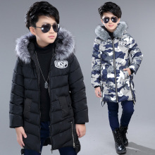 boys winter jacket cotton padded fur collar hooded lengthy youngsters outerwear coat thicken heat boy winter coat kids clothes