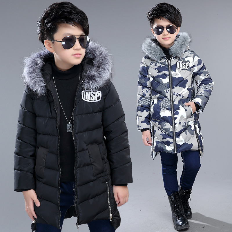 boys winter jacket cotton padded fur collar hooded long kids outerwear coat thicken warm boy winter coat children clothing
