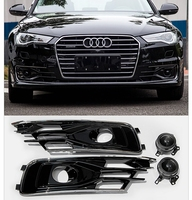 MONTFORD For Audi A6 C7 2016 2018 ABS Material Front Bumper Foglight Grille Fog Light Lamp Set Fog Light Lamp Grille Covers 2Pcs