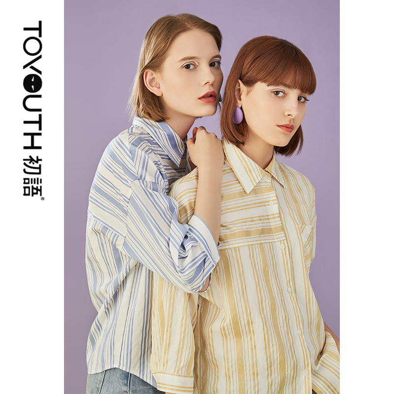 Toyouth 2019 Women Spring Blouse Fashion Turn Down Collar Stripe Print Three Quarter Sleeve Shirt Female Loose Blouses in Blouses amp Shirts from Women 39 s Clothing