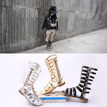 Filles gladiateur sandales/Enfant/Enfants De Mode bébé Sandales Noir/Argent/Or Bébé Mocassins Bottes 2-neuf Années haute talon chaussures enfants