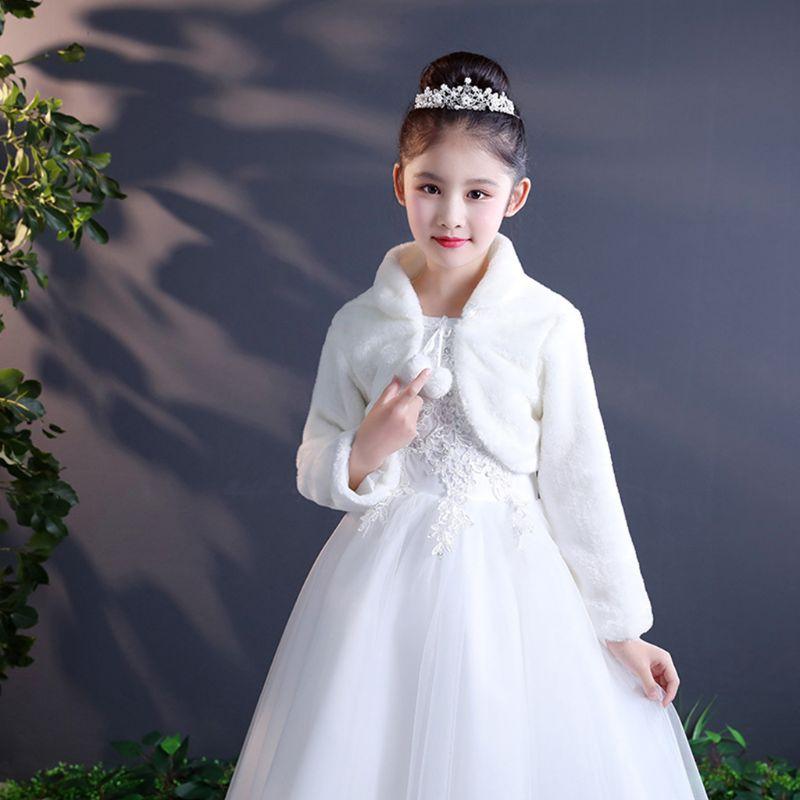 Pure Beige White  Elegant Warm Faux Fur Shawl Wedding Flower Girl Wrap Plush Short Coat Fairy Marriage Accessories