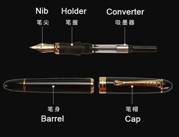 Jinhao X450 Classics Thick Body 1.0mm Bend Nib Calligraphy Pen High Quality Metal Fountain Pen Luxury Ink Gift Pens for Writing high quality jinhao 51a glass wood fountain pen luxury 0 38mm fine nib ink pens for writing school office supplies caneta