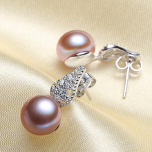 Women Gift word 925 Sterling silver real [bright pearl] natural freshwater pearl earrings, earrings, 9.5-10mm steamed bun, round