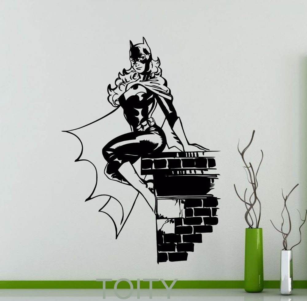 compare prices on dorm wall decorations online shopping buy low batgirl mural wall decor sticker creative cool comics superhero vinyl decal dorm club home interior decoration