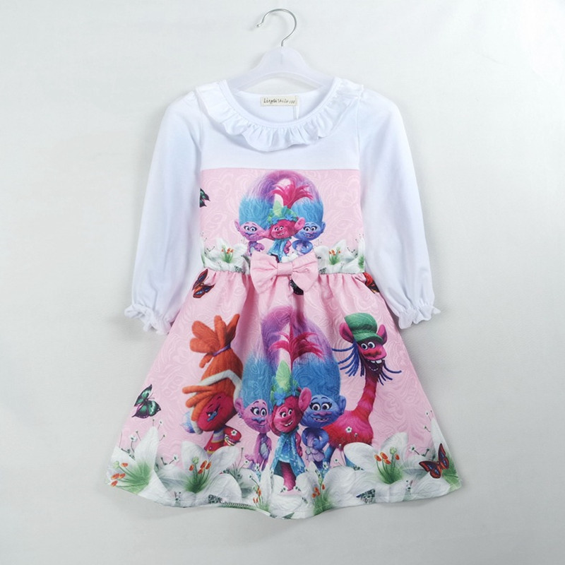 2017 New Spring and Autumn clothing children Girls Long Sleeve Dress Kids trolls Princess Dress S045 princess girls long sleeved children s evening autumn new europe and the united states dress kids clothing red silk