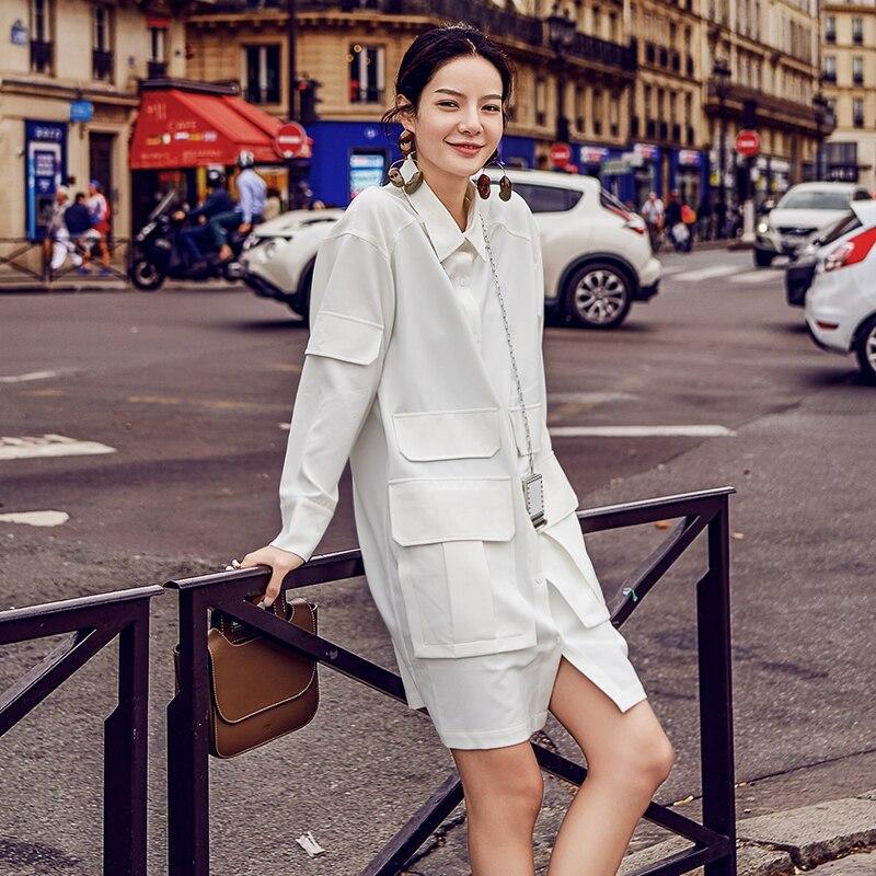 Fourche Droite poche Multi Sur À 1 D'origine Longues Manches Sauvage Femme Col Pur La Carré Blanc Split Chemise wtE4xqOv