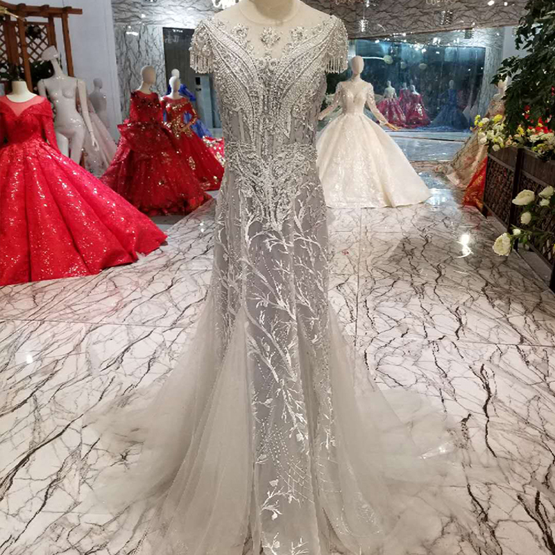 LS01980 mermaid evening dress long lace up open back cap sleeves o-neck beaded formal evening gown hot grey sheath party dress Платье