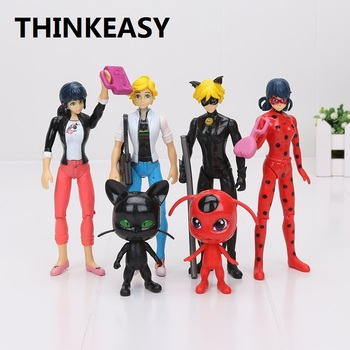 THINKEASY 6pcslot Miraculous Ladybug Comic Lady bug Girl Doll Action Figure Toys Cute Anime Birthday Gifts Toys for Children lady bug dolls