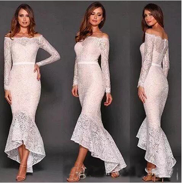 5d7d9166d2 2017 New Mermaid White Lace Long Sleeves Prom Dresses High Low Cocktail  Dresses Boat Neck Evening Party Gowns with Sash hp92