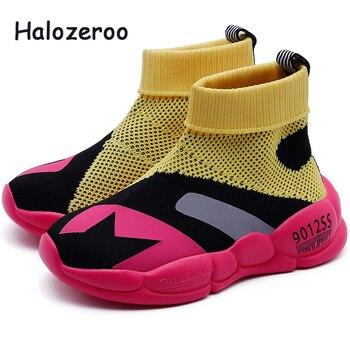 Детские кроссовки с высоким берцем, спортивные розовые кроссовки для мальчиков и девочек, модные мягкие кроссовки, осень 2019