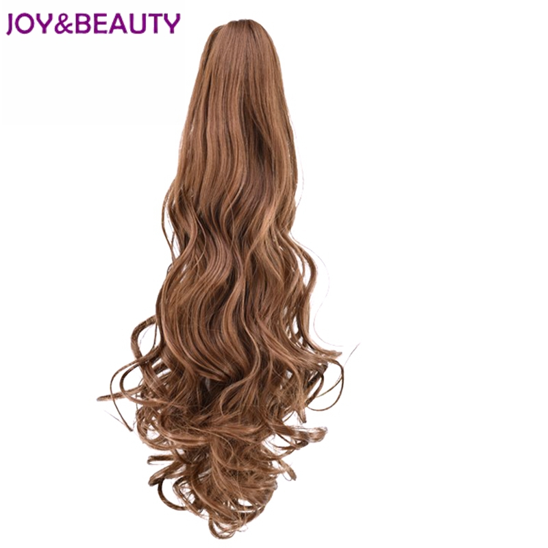 JOY&BEAUTY Hair 16 Color 55cm Long Curly Synthetic Ponytail High Temperature Fiber Hairpiece Clip in Hair Ponytail